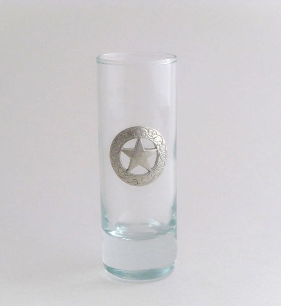 Shot/Cordial Glass with Pewter Texas Star