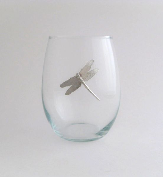 Stemless Wine Glass with Pewter Dragonfly