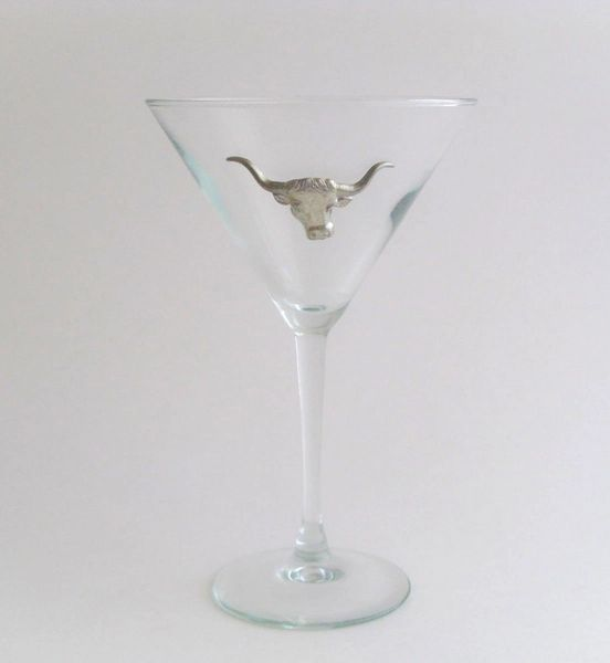 Martini Glass with Pewter Steer