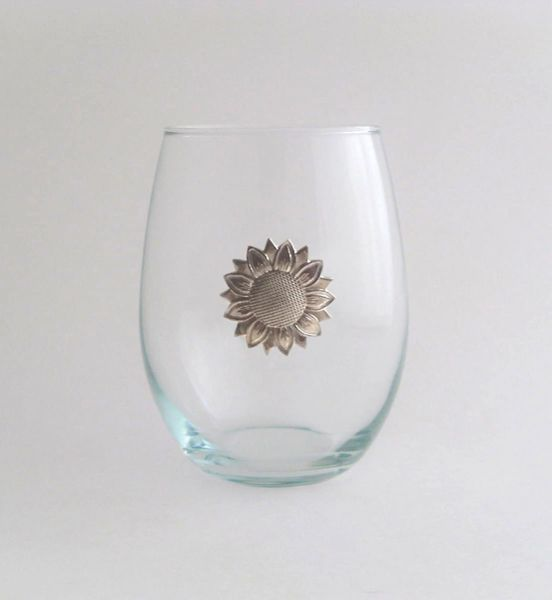 Stemless Wine Glass with Pewter Sunflower
