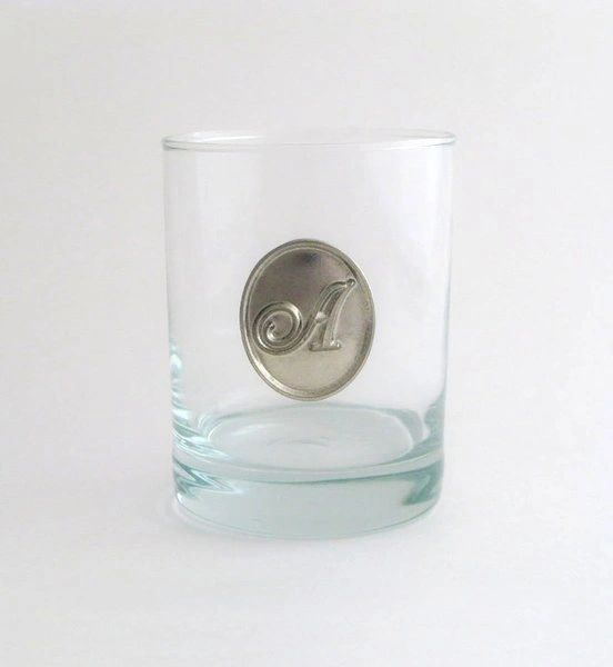 Rocks Glass with Pewter Initial