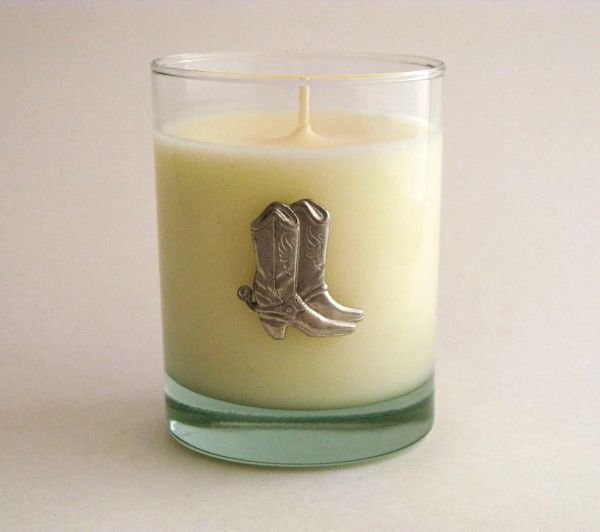 Soy Candle (14 oz.) with Pewter Boots