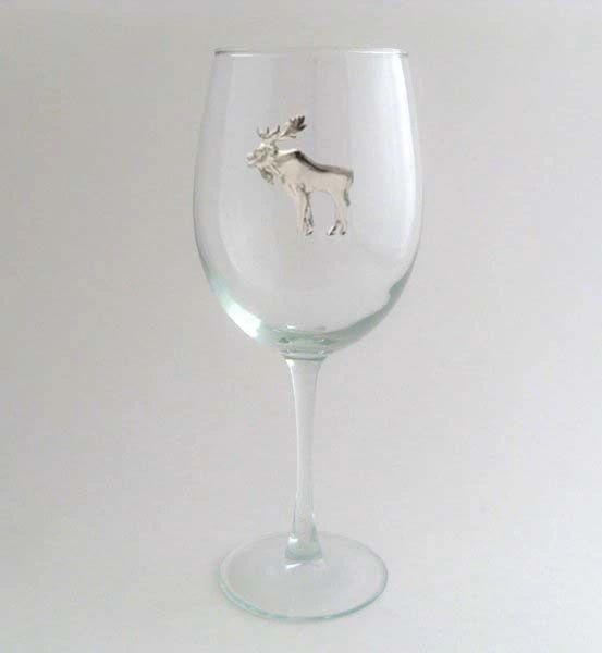 Wine Glass with Pewter Moose, Set of 4