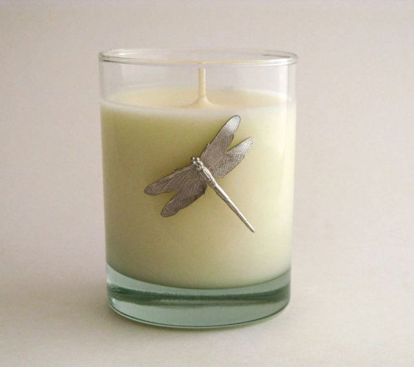Soy Candle (14 oz.) with Pewter Dragonfly