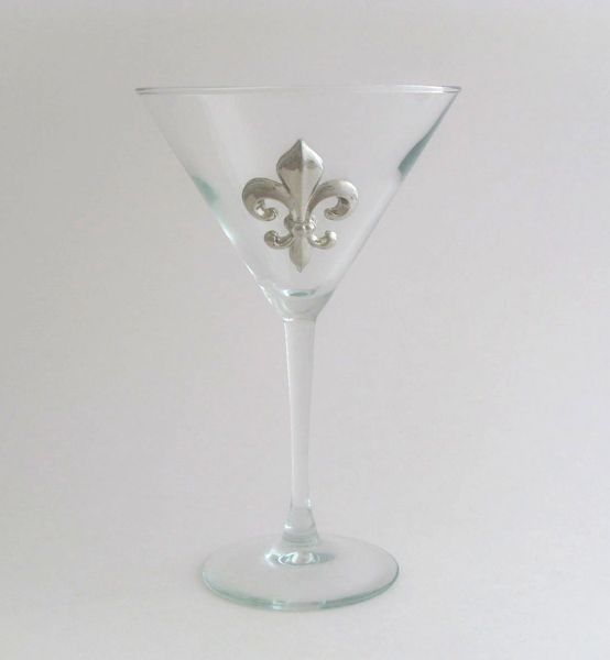 Martini Glass with a Pewter Fleur de Lis