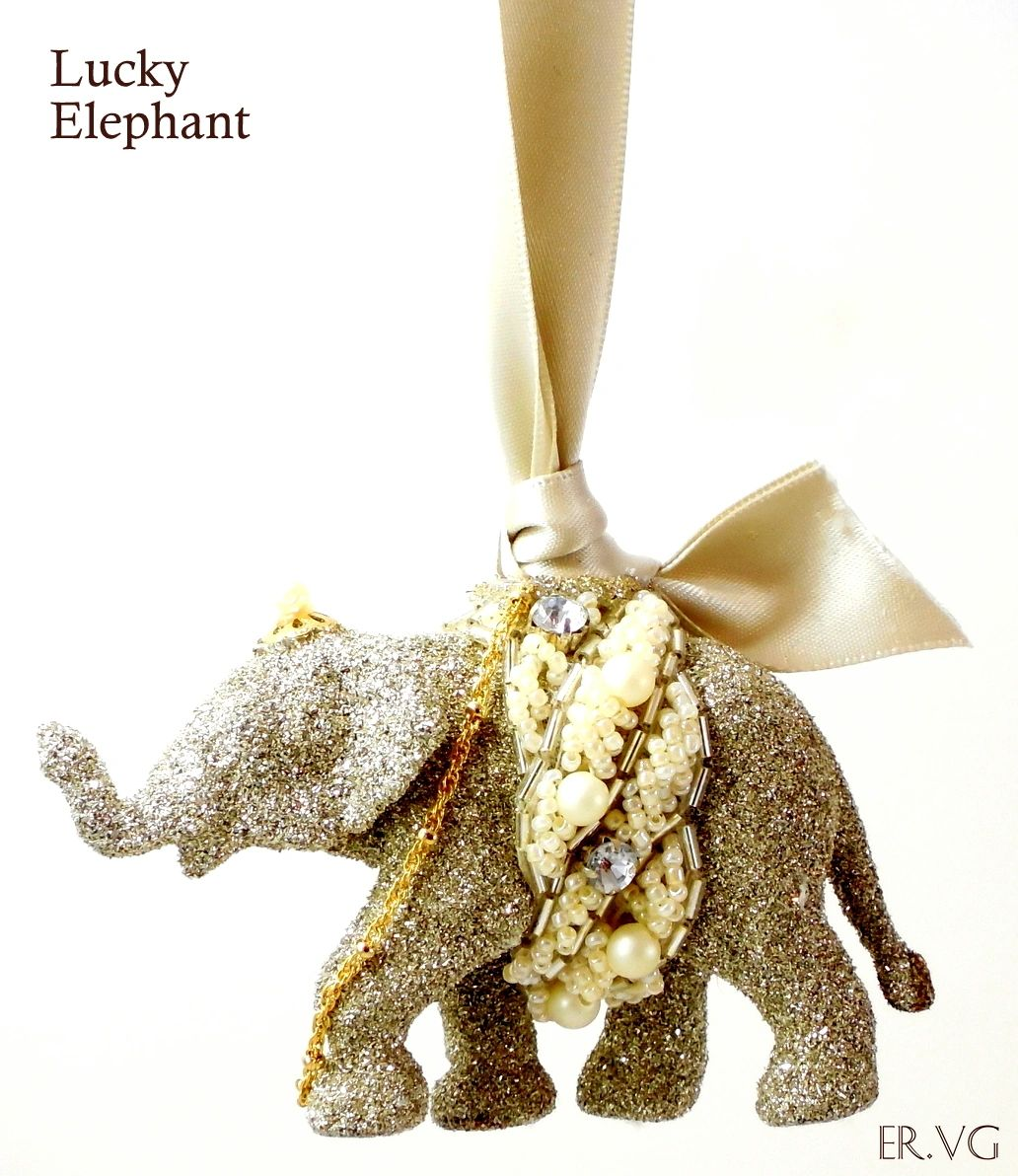 Eliot Raffit Christmas Ornament Lucky Elephant in Vintage Silver Glass Glitter Handmade in the USA