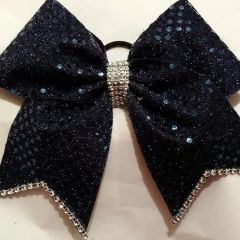 CHEER BOW - FULL NAVY SEQUINS (original) with SILVER RHINESTONE EDGING & TAILS - BIG 3 inch wide (OTHER COLORS AVAILABLE)