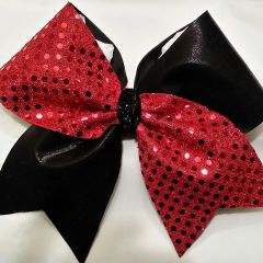 CHEER BOW - SEQUINS / BLACK METALLIC CHEER BOW