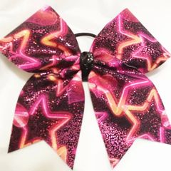 CHEER BOW - ROCKSTAR - STARS & HEARTS HOT PINK & BLACK CHEER BOW