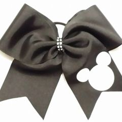 CHEER BOW - PLAIN GROSGRAIN CHEER BOW with WHITE GLITTERED MICKEY HEAD