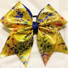 MULTI COLOR PAINT SPLATTER on YELLOW METALLIC FULL CHEER BOW