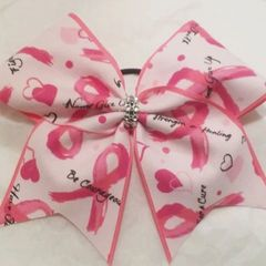 CHEER BOW - BREAST CANCER AWARENESS Strength & Healing Couragous FULL PINK EDGE with Rhinestone center