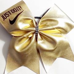 CHEER BOW - FULL GOLD or SILVER METALLIC Nike JUST DO IT ! (option to add a name )