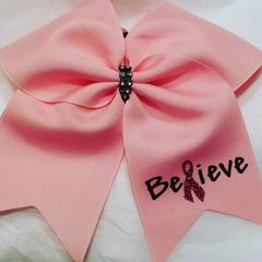 CHEER BOW - BELIEVE PINK BREAST CANCER AWARENESS RIBBON