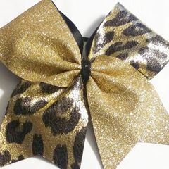 CHEER BOW - GOLD GLITTER / GOLD CHEETAH ANIMAL PRINT ( ADD A NAME )