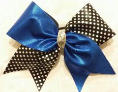 CHEER BOW - ROYAL BLUE METALLIC / BLACK with SILVER HOLOGRAM POLKADOTS