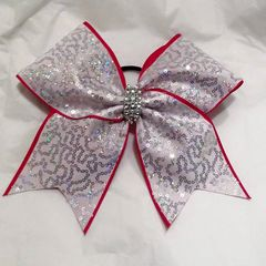 CHEER BOW - WHITE with Silver SEQUINS with RED OUTER EDGING