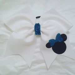 CHEER BOW - MINNIE with AQUA BLUE GLITTER BOW