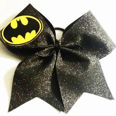CHEER BOW - BATMAN ( Black glitter)