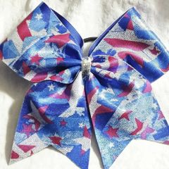 CHEER BOW - AMERICA RED WHITE & BLUE Stars & Stripes flag ( 4th of July labor day memorial day )