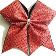 CHEER BOW - RED SEQUINS FULL with Black edge