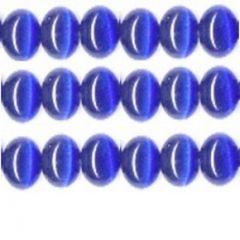 CATS EYE GLASS BEADS 8mm - ROYAL BLUE COLBALT