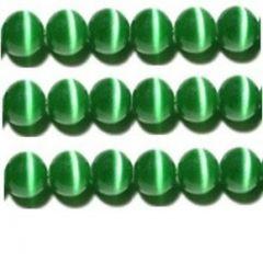 CATS EYE GLASS BEADS 8mm - GREEN