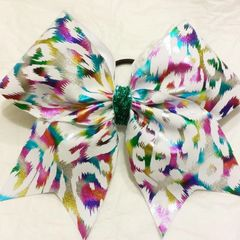 CHEER BOW - WHITE wih MULTI COLOR METALLIC CHEETAH ANIMAL PRINT (aqua center)