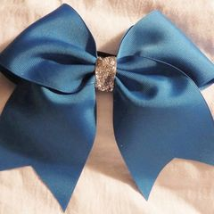 MAGIC BLUE PLAIN GROSGRAIN CHEER BOW - CHOOSE YOUR CENTER