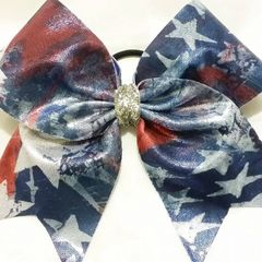CHEER BOW - RED WHITE & BLUE STARS METALLIC FLAG FULL