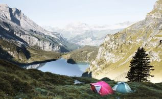 hiking and camping in the mountains