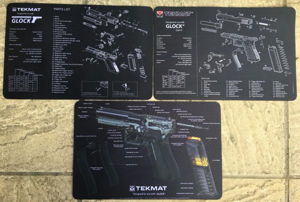 SET OF 3 - GLOCK 17 9mm PISTOL 3D CUT-AWAY & Gen 4 TEKMATS - COLOUR Handgun Schematic Diagram on