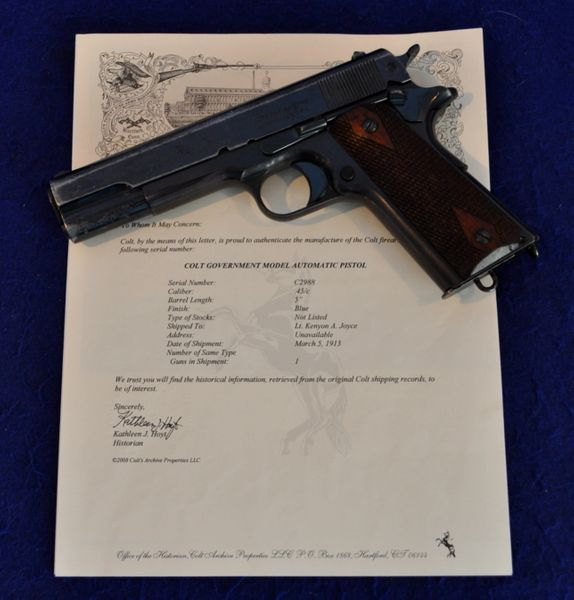 HISTORIC GENERAL OFFICER'S COLT 1911 PISTOL~GEORGE S  PATTON JR's FORMER CO  & PERSONAL FRIEND