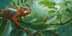"""Blending In"" Panther Chameleon 12"" x 24"" Original Painting"