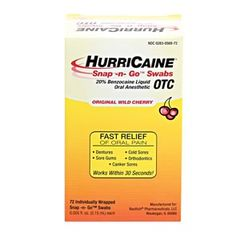 BEUTLICH HURRICAINE TOPICAL ANESTHETIC Snap -n- Go Swab, Individually Wrapped, Unit Dose, 72/bx , 10 Box/Case , BEU 0283-0569-72