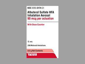 Albuterol HFA 90mcg Solution 8.5gm , Teva 00093-3174-31