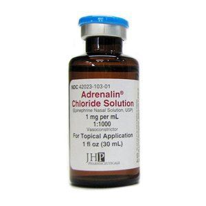 Adrenalin Chloride Solution Alpha- and Beta-Adrenergic Agonist Epinephrine 1 mg / mL (1:1000) Solution Bottle 1 oz. , Par Sterile Products 42023010301