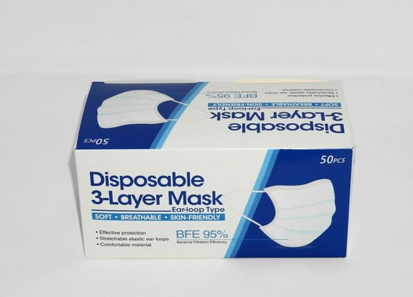 3 Layer Ear Loop Face Mask Disposable , 50/Box , BFE-95