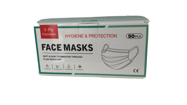 3 Ply Ear Loop Face Masks Disposable , 50/Box , Blue/White , Hygiene-50
