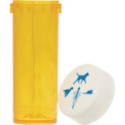 Amber Plastic Prescription Vials 20 Dram, 270/Pkg 2 way Cap , Pivetal 21276647