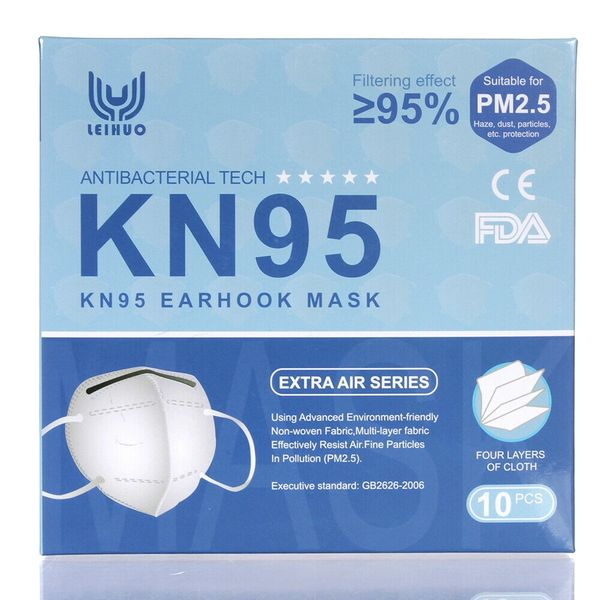 10 PCS KN95 Disposable Face Mask Respirator 4 Layers CE/ FDA Nose Mouth Cover , 10/Pack , KN95-Leihuo