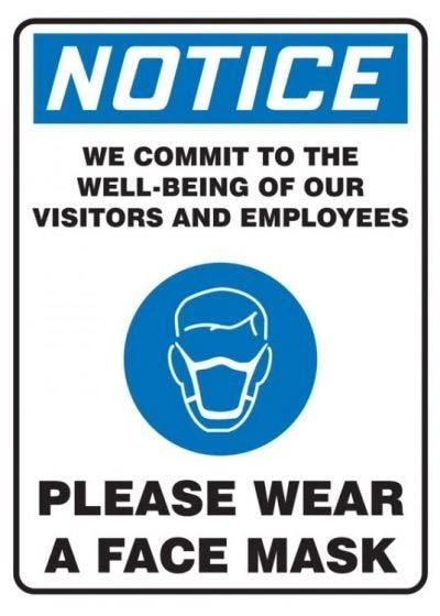 "Covid-19 Safety Sign ""Notice Please Wear a Face Mask"" Adhesive Vinyl , 14""x10"" , 10/Pack , Safety ACC-MPPA832VS-14"