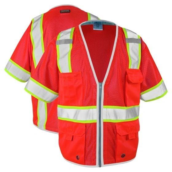 Brilliant Series Class 3 Hi Vis Red Heavy Duty Safety Vest , Different Sizes , 5/Case , Safety MLK-1750