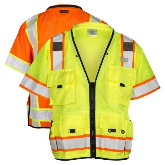 Class 3 Professional Surveyors Safety Vest High Visibility Lime/Orange , Different Sizes, Each , Safety-S5011