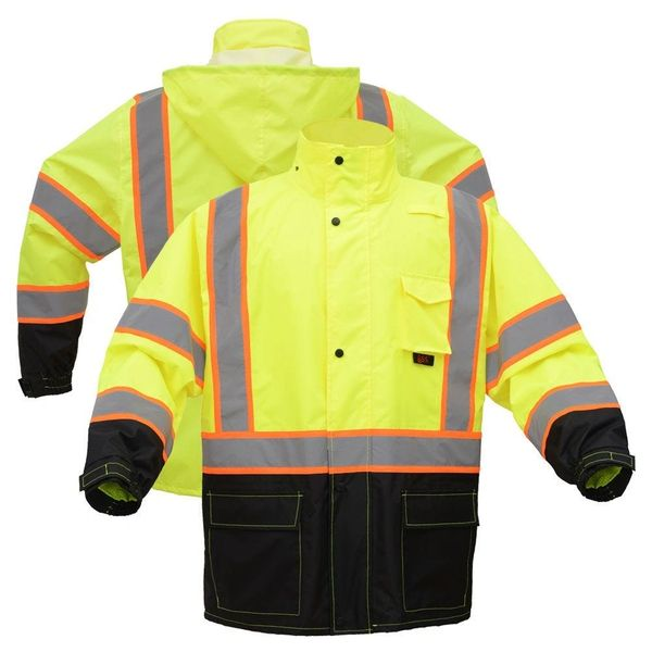 Class 3 HiVis Black Bottom Safety Rain Coat High Visibility Lime/Black , Different Sizes , Safety GSS-6005