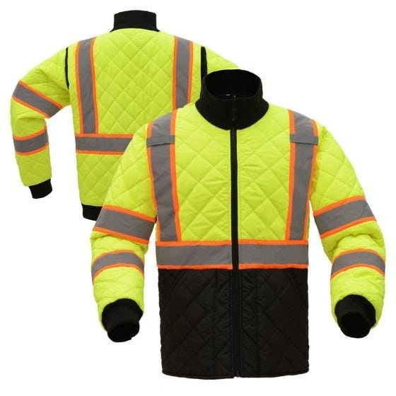 Class 3 HiVis Quilted Safety Jacket High Visibility Lime , Size Medium , Safety GSS-8007