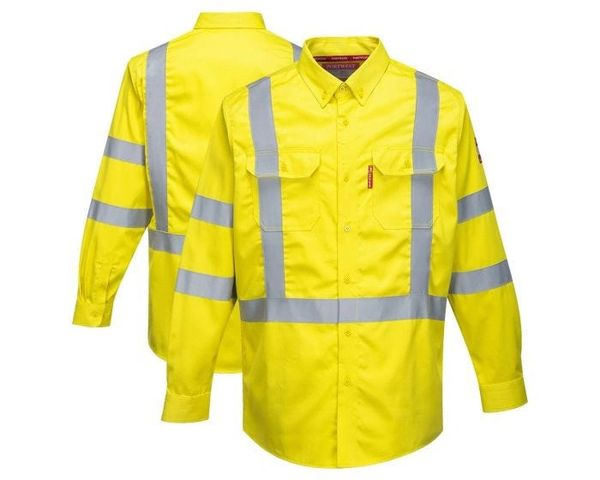 Class 3 Bizflame 88/12 HRC 2 FR HiVis Button Down Shirt , Different Sizes , Safety POR-FR95-LM