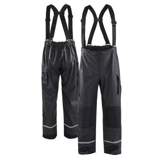 Blaklader Enhanced Visibility PU Coated Reflective Rain Pants Black , Different Sizes , Safety BLK-1387-BK