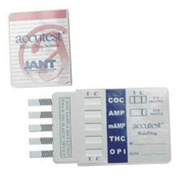 Accutest Drug Screen Dip Card Test Kit 5 Panel AMP/COC/MET/OPI 2000/THC 25/Box , Jant DS01AC425