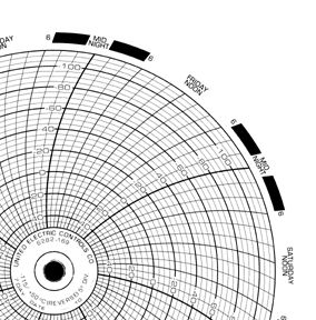 7-Day Temperature Recording Chart Pressure Sensitive Paper 6 Inch Diameter Blue Grid , 00960831